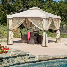 Patio Gazebos by 10ft X 10ft Steel Frame Gazebo With Polyester Canopy And Screen In