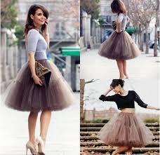 2016 new cheap knee length puffy tutu skirts midi sheer mesh skirt