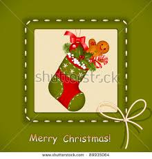 christmas card stocking red ball christmas stock vector 89935079