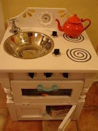 diy up cycled furniture as kids play kitchen cheaper more fun