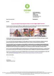 Charity Giving Letter Campaign Gallery Oxfam Tax Rebate Letter From January 2017