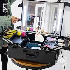 aluminum professional trolley makeup with lights beauty