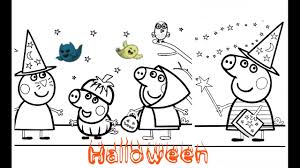 peppa pig george and candy cat halloween coloring page