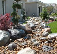 two mulch landscaping types design ideas decors using river rock