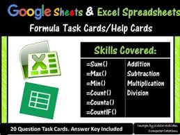 Help With Excel Spreadsheets by Sheets Excel Spreadsheets Task Cards Help Cards