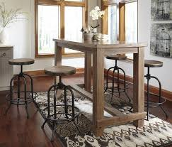 Industrial Style Dining Room Tables 5 Piece Bar Table Set With Industrial Style Adjustable Swivel