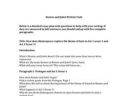 romeo u0026 juliet written task essay plan worksheet by he4therlouise