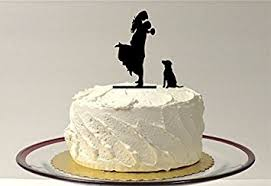 wedding cake toppers and groom with dog silhouette wedding cake topper groom