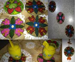 easy to do recycle cd as coaster wall hanging and fridge