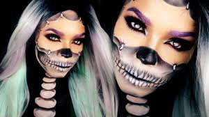 skeleton halloween face half skull makeup tutorial reattached face halloween skull