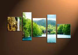 Waterfall Home Decor 5 Piece Canvas Green Trees Ocean Art