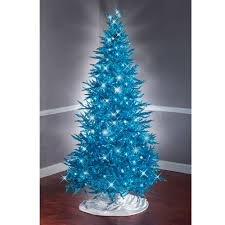 the 7 1 2 foot teal tinsel tree hammacher schlemmer