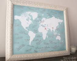 wedding gift book watercolor world map guest book map wedding guest book