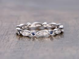 Art Deco Wedding Rings by Sapphire Wedding Band Full Eternity Band Sapphire Bezel Set Ring