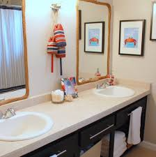 rustic nautical bathroom small towel bar white stained wall