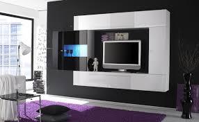 living room luxury minimalistic modern wall units on dark grey