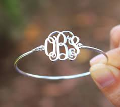 Monogram Bangle Bracelet Personalized Sterling Silver Or White Gold Plated Monogram