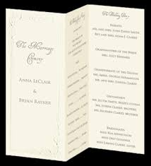 folded wedding program template calla trifold wedding program ecru wedding