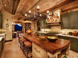 interior perfect rustic kitchens design ideas with chandelier and