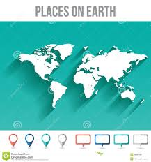 Flat Map Of The United States by World Map With Pins Flat Design Vector Stock Vector Image 49988488