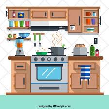 Free Design Kitchen Kitchen In Flat Design Vector Free