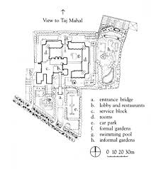 Taj Mahal Floor Plan site plan showing gardens with roof plan of the building