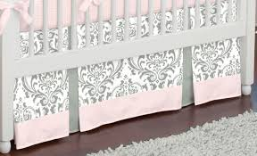 accessories beautiful grey and pink crib skirt in white wooden