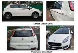 fiat punto fiat linea royale punto karbon on sale with rs 35k premium