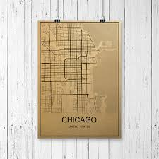 living room cafe chicago hot sale chicago vintage poster world map retro painting krafts