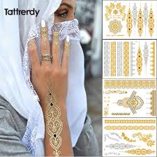 tattrendy 4pcs new indian arabic design golden silver flash tribal