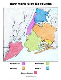 Printable Map Of New York City by New York City Boroughs Coloring Activity For Kids