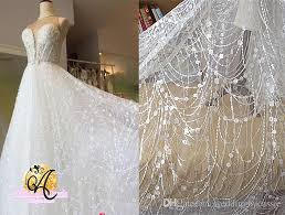 tulle fabric wholesale white wave tassel glitter tulle fabric embroidery lace wedding