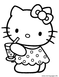 cute kitty drinking water coloring pages printable