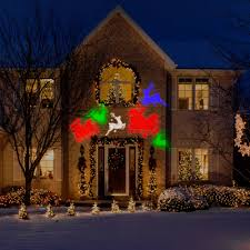 Outdoor Christmas Yard Decorations by Gemmy Lightshow Projection Whirl A Motion Christmas Lights