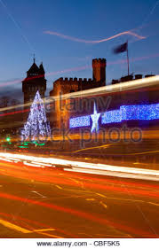 Christmas Lights Decorations Cardiff Castle With Christmas Lights And Traffic Light Trails