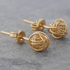 small gold earrings tiny gold nest stud earrings by otis jaxon silver jewellery