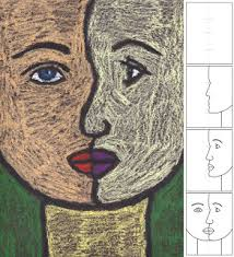 art projects for kids how to draw a cubist portrait oil pastel