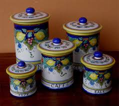 italian canisters kitchen deruta painted 5 pcs canister set kitchen canisters italian