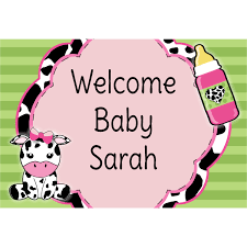 baby shower posters baby girl cow print personalized baby shower poster