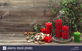 Home Interior Candles by Christmas Decoration With Red Candles Birdcage And Pine Branch