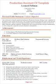 Production Assistant Job Description Resume by Production Assistant Cv Template Tips And Download Cv Plaza