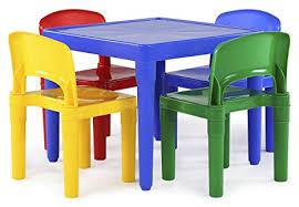 tot tutors table chair set amazon com tot tutors kids plastic table and 4 chairs set primary
