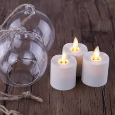 Flameless Candle Sconces With Timer 3pcs Flameless Tea Light Led Votive Candles With Glass Ball Candle