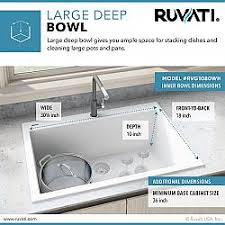 what size sink for 33 base cabinet ruvati rvg1080wh epigranite 33 x 22 inch drop in topmount granite composite single bowl kitchen sink in arctic white
