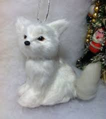 fox christmas tree ornament faux fur white woodland woodland