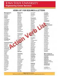 Verbs For A Resume Keywords And Action Verbs U2022 Engineering Career Services U2022 Iowa