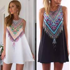 tribal dress boho tribal print sleeveless women tunic dress dress for less