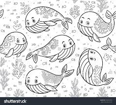 outline sea life whales little fish stock vector 507200704