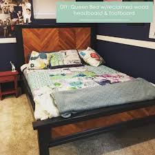 diy queen bed with reclaimed wood headboard and footboard