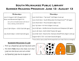 summer reading programs south milwaukee public library
